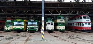 Trams in Rigby Road depot